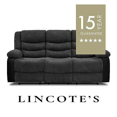 ESKRA Modern Brick-Cord Fabric & Leather Match Recliner Sofas 3 + 2 Seaters