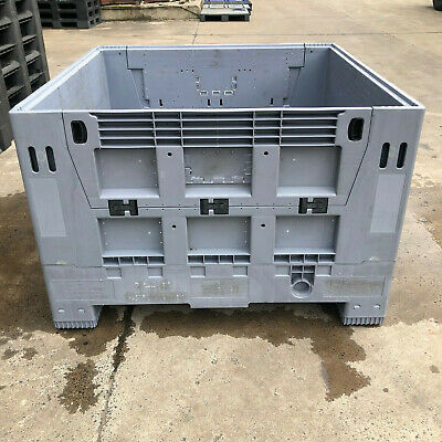 PLASTIC STORAGE FOLDING PALLET BOX CONTAINER - VENTED - 1162x1162x780mm - 500kg