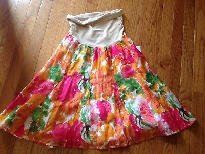 NWT NEW A Pea in the Pod Floral Skirt Maternity L Large $78 Retail