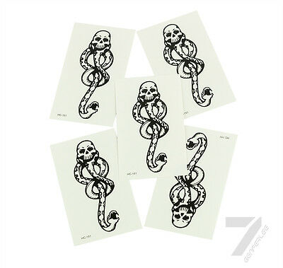 5pcs Halloween Harry Potter Cosplay Dark Mark Death Eater Temporary TATTOO