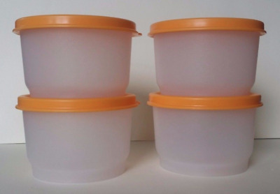 Tupperware Four Clear Snack Cups w/ Goldenberry Seals Set ~ Lunch on the Go! New