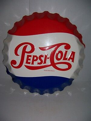 "Vintage Pepsi Cola Soda Pop Bottle Cap 27"" Embossed Metal Sign By Stout"