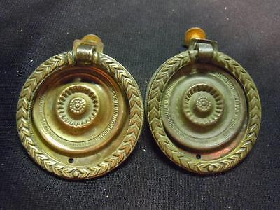 Xr]  2 Pc Set Of  Antique Brass Drawer Pulls  - Nicely Embossed