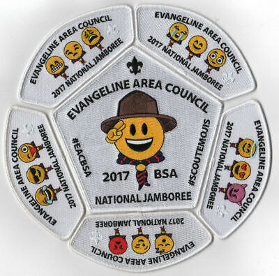 2017 National Scout Jamboree Evangeline Area Cncil 6pc Set Emojis White [NJ2017]