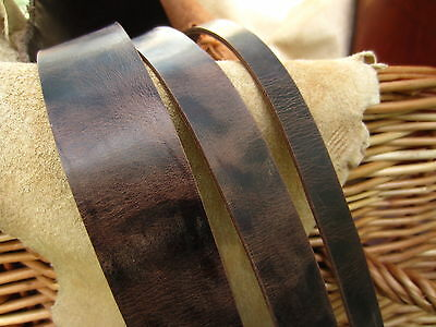 122cm LONG ANTIQUE LOOK DARK BROWN 3.5mm THICK LEATHER STRAP ALL WIDTHS HIDE