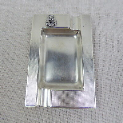 Antique English Royal Engineers George VI Sterling Silver Ashtray 1914