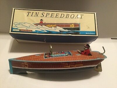 1996 Wind Up Speedboat Toy Tin Limited Edition Reproduction Schylling  NOS
