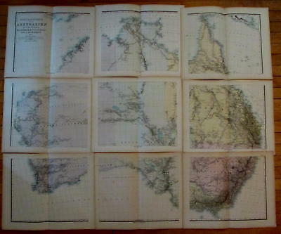 Australia rare 9 sheets 1875 Petermann wall map oversize complete old color A+