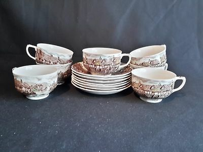 Johnson Brothers Olde English Countryside Set of 7 Cups & Saucers