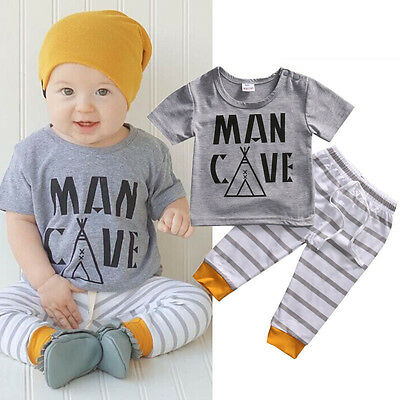 US Stock Toddler Baby Boys Kids T-shirt Top Striped Pants Outfit Clothes Set