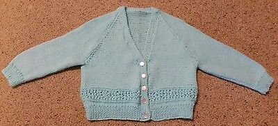 Aqua Cardigan Hand Knitted Size 1