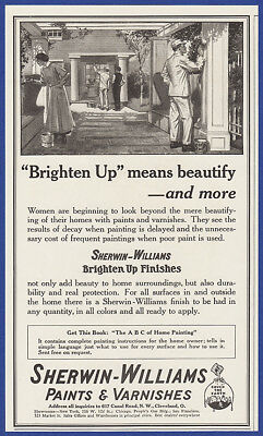 Vintage 1916 SHERWIN-WILLIAMS Paints & Varnishes Brighten Up Finishes Print Ad