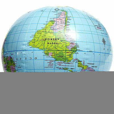40CM PVC Inflatable Blow Up World Globe Earth Ball Map Geography Toy Tutor Pop.