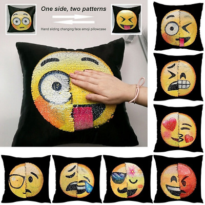 New Cute Funny Emoji Mermaid Pillow Sequins Cover Reversible Sofa Cushion Decor