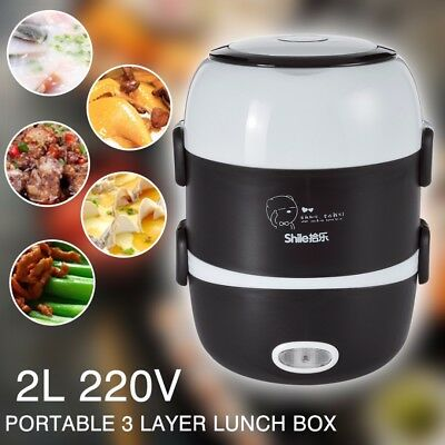 220V Portable 3 Layers 2L Electric Lunch Box Steamer Pot Rice Cooker Stainless