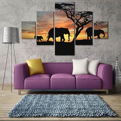 5 Panel Bedroom Abstract Wall Art Modern Elephant Sunset Canvas Oil Paintings Y