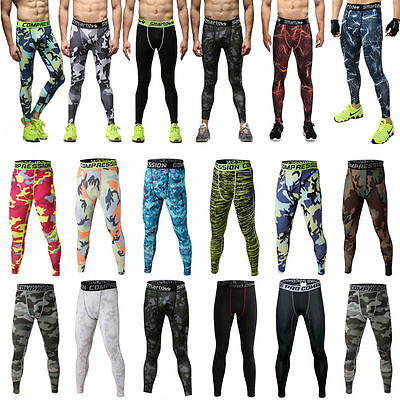 2017 New Mens Gym Sport Thermal Tight Compression Base Layer Pants Long Trousers