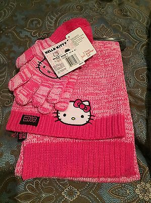 Hello Kitty Hot Pink Winter Hat Glove And Scarf Set New