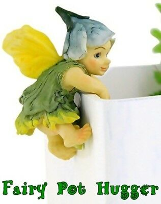 HAND-PAINTED RESIN MINIATURE BABY FAIRY POT HUGGER FIGURINE for POTTED PLANTS