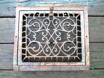 Beautiful Vintage Salvaged Cast Iron Register Grille Grate 14 x 12
