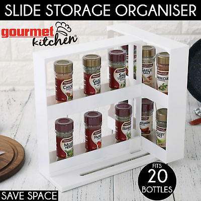 2x Slide 'N Store Spices Cabinet Organiser Save Space Storage Spice Rack Saver