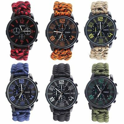 Outdoor Survival Kit Paracord Wrist Watches Compass Flint Whistle Bushcraft Gear