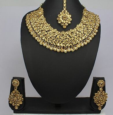 Wedding indian fashion jewellery kundan bridal necklace set earring tikka women