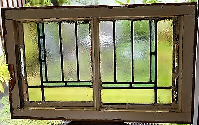 Antique Leaded English Stained Glass Window Wood Frame England Old House 16