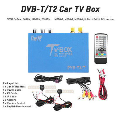 DVB-T DVB-T2 HD Car TV Tuner TV Receiver Box H.265 Decorder MPEG-4 Two Antennas