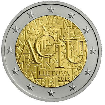 UNC €2 euro commemorative coin 2015 Lithuania, feature: The Lithuanian language