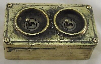NEW Brass 2 Gang Vintage Industrial Light Switch - BS EN Approved