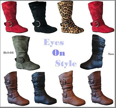 Infant Toddler Girls Winter Buckle Flat Heel Mid Calf Slouchy Boots Shoes