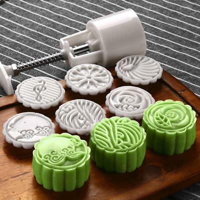 Moon Cake Mould Mold Hand Pressure Flower Decor Motif Pastry Round+6 Stamps WT
