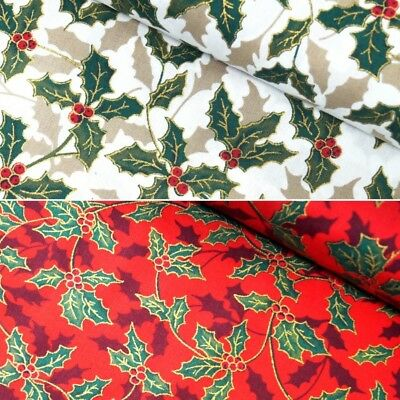 100% Cotton Fabric Christmas Holly Branch & Winter Berry Silhouettes 135cm Wide