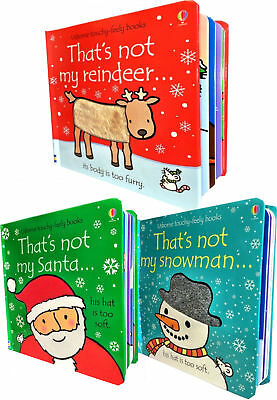 Thats Not My Christmas Collection 3 Books Set Touchy-Feely Books Santa, Snowman