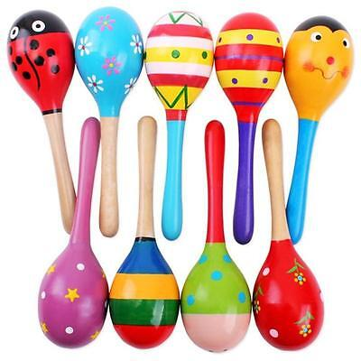 Kids Wooden Ball Cute Sand Hammer Rattle Musical Instrument Christmas Gift Ta TB