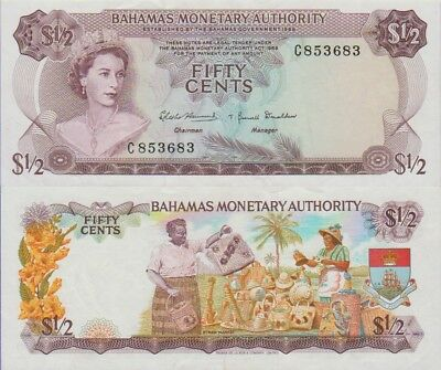 Bahamas 50 Cents Banknote 1968 Choice Very Fine Condition Cat#26-A-3683