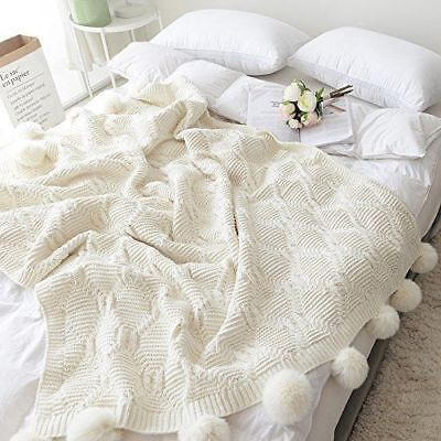 Cream Pom Pom Plush Throw Blanket Luxurious Lovely Lounge Cover Knitted Blanket