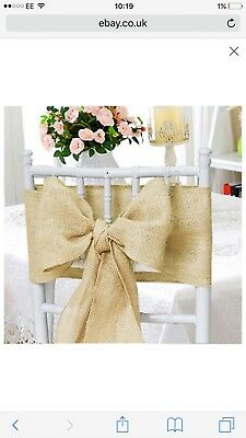 hessian chair sashes - 150 - used only once! Perfect for weddings