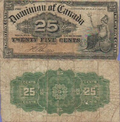 Canada-Dominion of Canada 25 Cents Banknote 1900 Very Good Cat#9-B