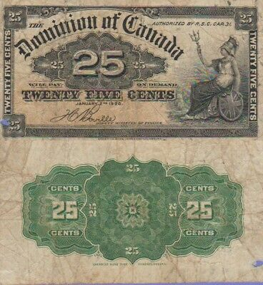 Canada-Dominion of Canada 25 Cents Banknote 1900 Very Good Cat#9-B-1234