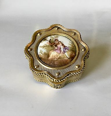 Antique French Gilt Bronze & Hand Painted Porcelain Miniature Jewelry Box