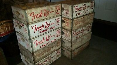 Vintage Fresh Up With 7up Seven Up Wood Soda Crate Case 12 Dividers