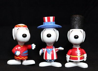 Snoopy 'Around the World' Collectible Mcdonalds Happy Meal Toy Figures x3 1999