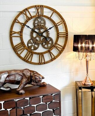 LARGE RUSTIC WOOD ANTIQUE STYLE WALL CLOCK WITH COG DESIGN 90 cm WIDE
