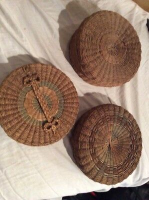 Vintage SWEET GRASS BASKETS  Lot of 3 FOUND IN LOCAL ESTATE
