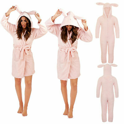 Loungeable Womens Rabbit Robe Or New Kids Luxury Soft 3D All In One Jumpsuit