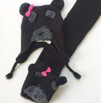 Childrens Place Hat and Scarf Winter Bear Black Bows Animal 8 9 10 11 12 13 14