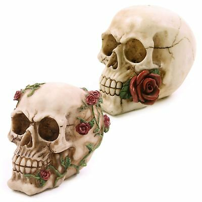 Skull With Red Rose Gothic Day of The Dead Pagan Samhein Halloween Ornament
