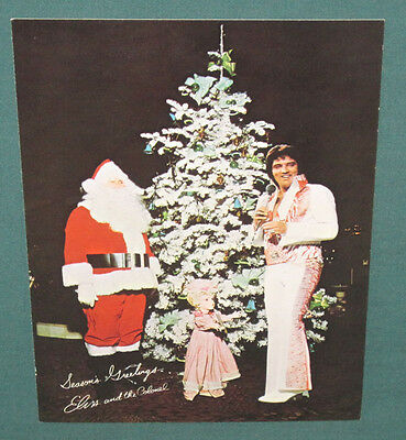 Elvis Presley Las Vegas Hilton Hotel 1975 Seasons Greetings Postcard 5 x 7 NM